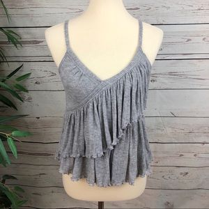 Free People Asymmetrical Babydoll Tiered Tank Top